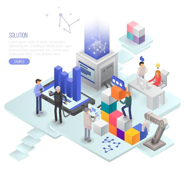 Lösungskonzept hintergrund. isometrische illustration des lösungsvektorkonzepthintergrundes für webdesign Premium Vektoren