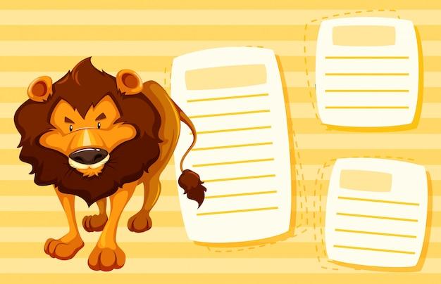 Löwe auf notizvorlage Kostenlosen Vektoren