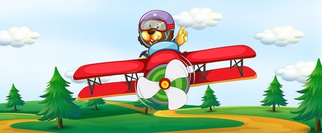 Löwe, der weinleseflugzeug reitet Kostenlosen Vektoren
