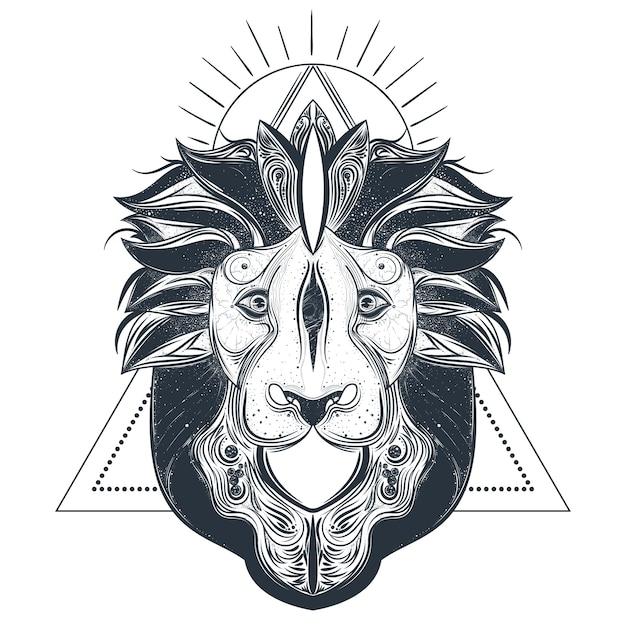 Löwe kopf linie kunst vektor-illustration Kostenlosen Vektoren