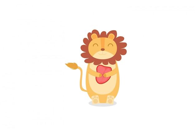 Löwe niedlich hält die fleischhandzeichnung Premium Vektoren