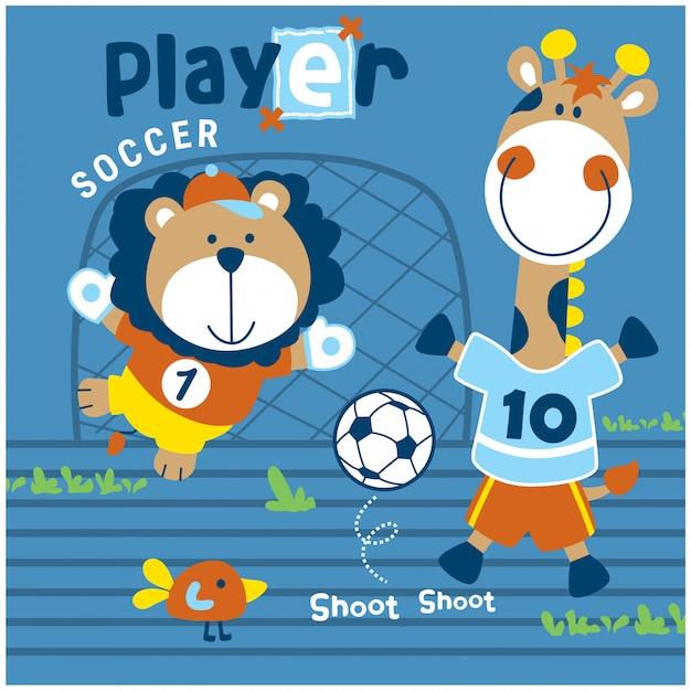 Löwe und giraffe spielen fußball lustige tierkarikatur, vektorillustration Premium Vektoren