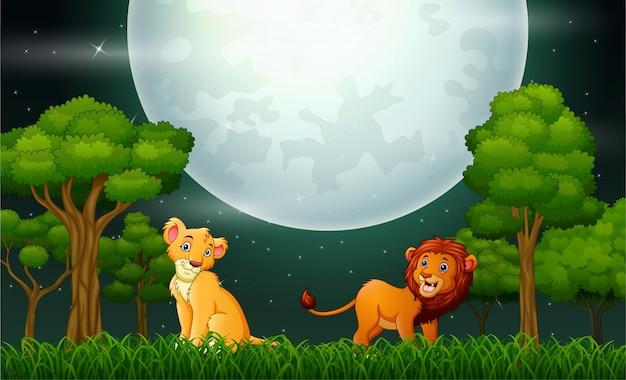 Löwekarikatur, die auf der naturlandschaft brüllt Premium Vektoren