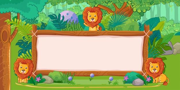 Löwen mit einem leeren zeichenholz im dschungel Premium Vektoren