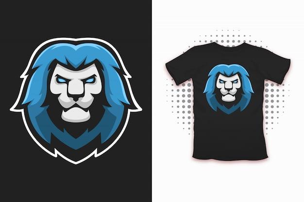 Löwendruck für t-shirt design Premium Vektoren