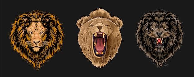 Löwengesicht eingestellt Premium Vektoren