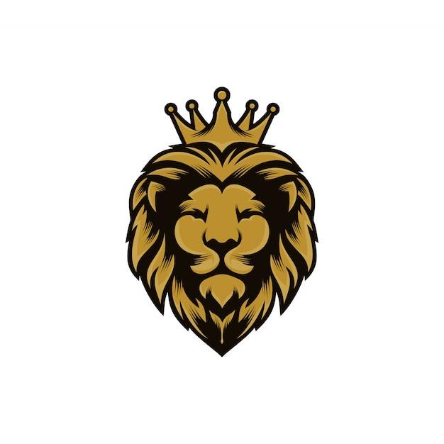Löwenkönig logo design vektor vorlage Premium Vektoren