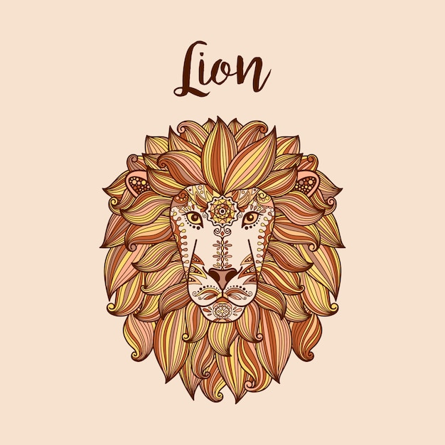 Löwenkopf mit ethnischem blumenmuster Premium Vektoren