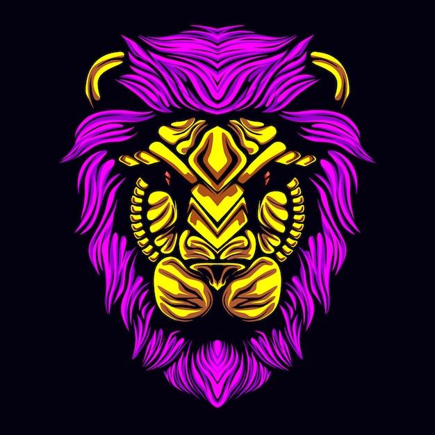 Löwenkopfmaske Premium Vektoren