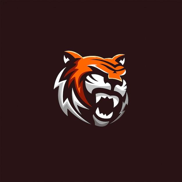 Löwentiger-logokunst Premium Vektoren