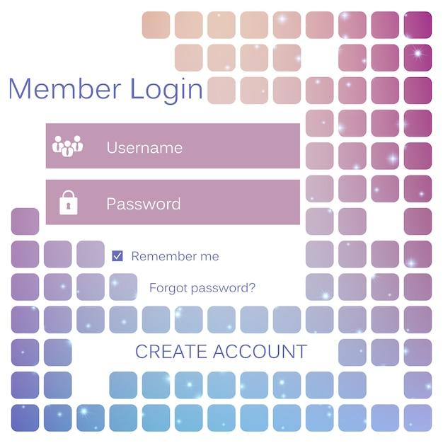Login-formular für mobile benutzeroberfläche. Premium Vektoren