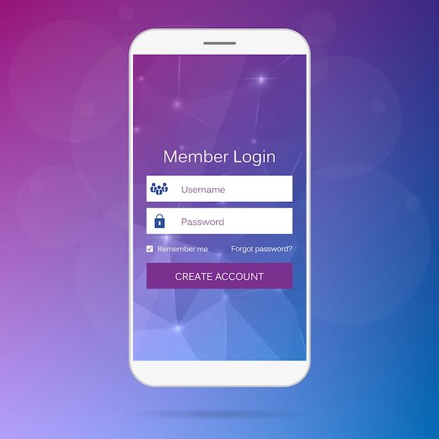 Login für mitglieder über das mobile webinterface. Premium Vektoren