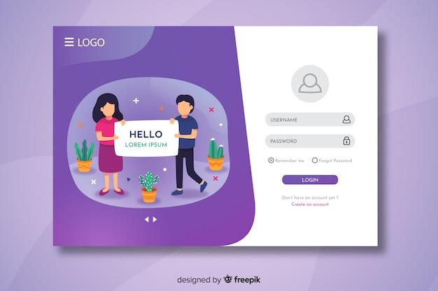 Login-landingpage mit hallo-text Kostenlosen Vektoren