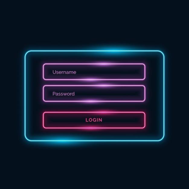 Login ui Form Design Neon-Stil mit Glanzeffekt Kostenlose Vektoren