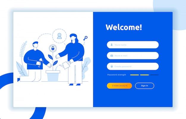 Login ui ux designkonzept und illustration Premium Vektoren