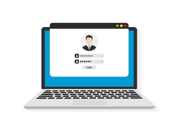 Login und passwort. anmeldeformular für die authentifizierung Premium Vektoren