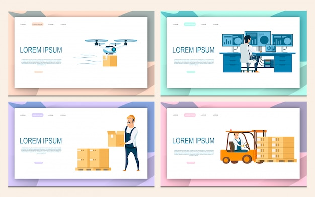 Logistic service set Premium Vektoren