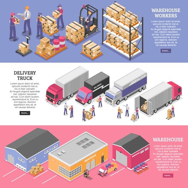 Logistik banner gesetzt Kostenlosen Vektoren