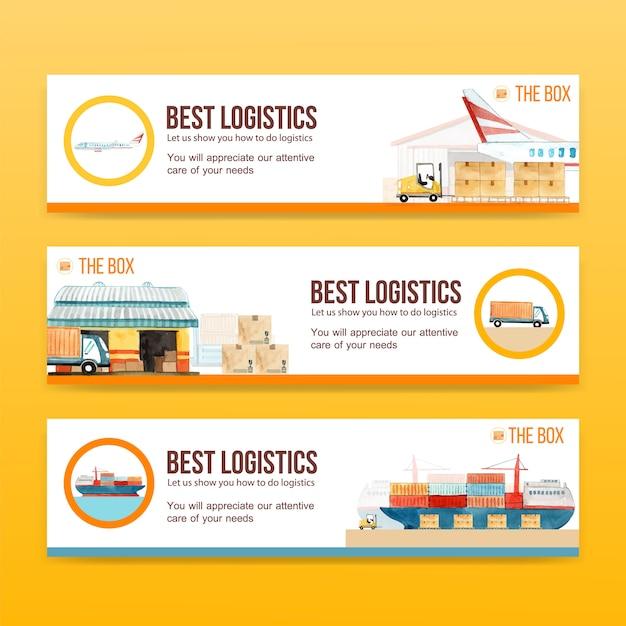 Logistik-banner-vorlagen Kostenlosen Vektoren