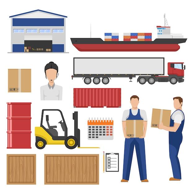 Logistik-flachelemente mit lagerware in verschiedenen containern gabelstapler transport mitarbeiter isoliert Kostenlosen Vektoren