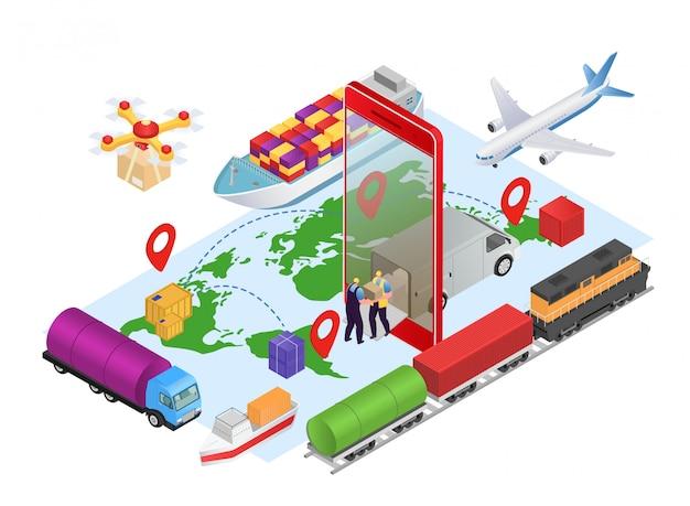 Logistik isometrisch online, geschäftsfracht-lieferservice bei kartenkonzeptillustration. versand internet-technologie, verfolgung der fracht am lkw. menschen kurier charakter mit box. Premium Vektoren