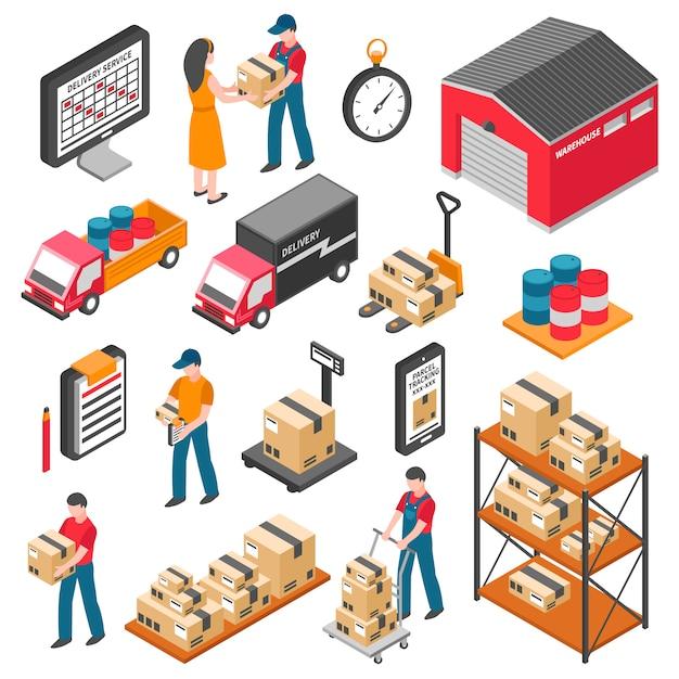 Logistik und lieferung isometrische icons set Kostenlosen Vektoren