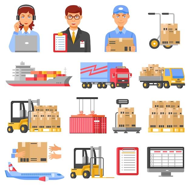 Logistik- und lieferungs-dekorative ikonen eingestellt Kostenlosen Vektoren