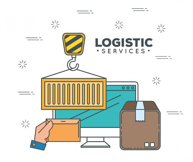 Logistikdienstleistungen mit computer Kostenlosen Vektoren