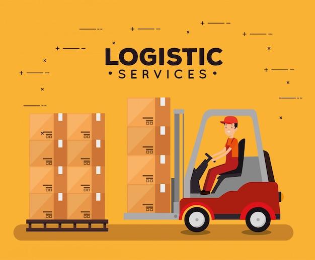 Logistikdienstleistungen mit gabelstapler und arbeiter Kostenlosen Vektoren