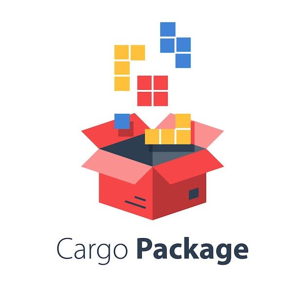 Logistikdienstleistungen, paket zusammenstellen, mehrere bestellungen aufgeben, große artikelmenge in karton verpacken, kaufsendung lagern, flache abbildung Premium Vektoren