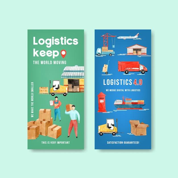 Logistikfliegerentwurf mit lager-, auto-, flugzeug-, bootsaquarellillustration. Kostenlosen Vektoren