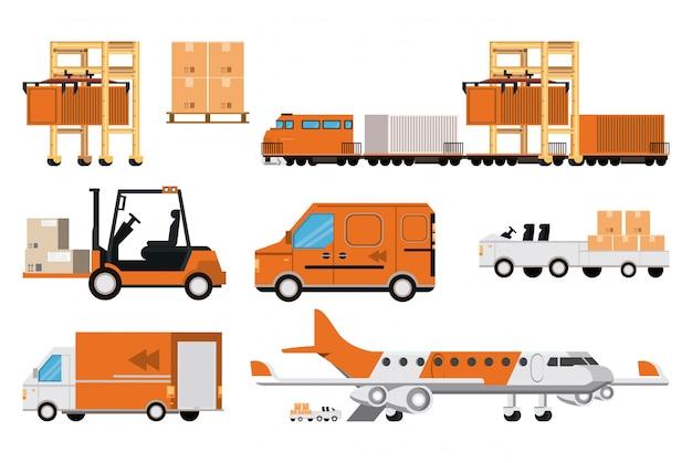 Logistische frachtkarikatur der transportwaren Kostenlosen Vektoren