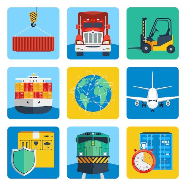 Logistische icons set Premium Vektoren