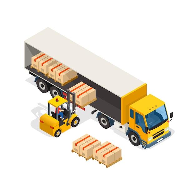 Logistische isometrische designzusammensetzung Kostenlosen Vektoren