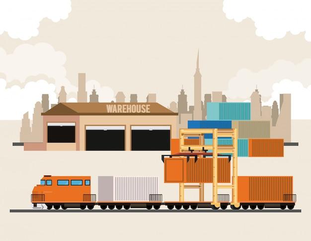 Logistische karikatur der transportfracht-waren Kostenlosen Vektoren