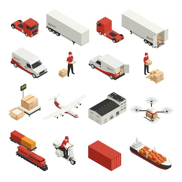 Logistische lieferung der isometrischen ikonen des frachttransports durch verschiedene fahrzeuge und brummentechnologie Kostenlosen Vektoren