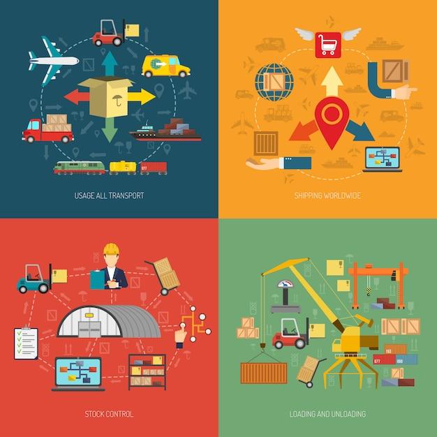 Logistische quadratische fahne mit 4 flachen ikonen Kostenlosen Vektoren