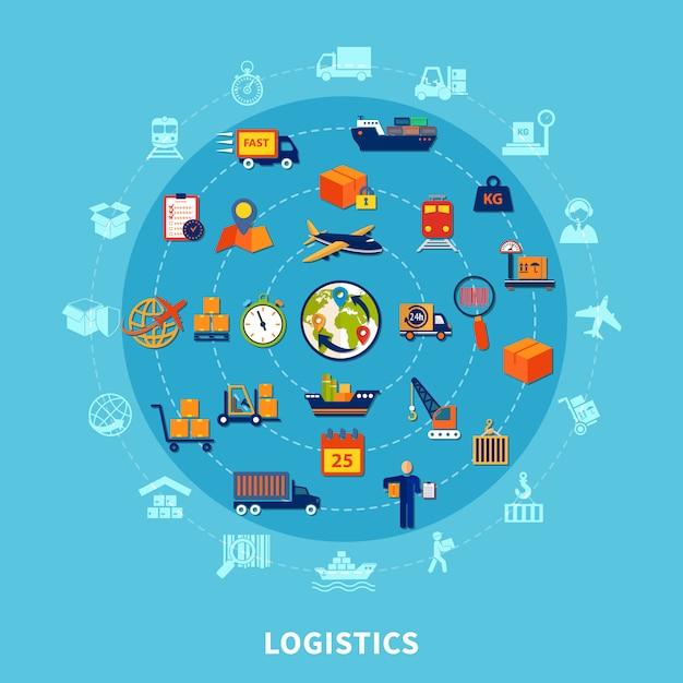 Logistische runde zusammensetzung Kostenlosen Vektoren