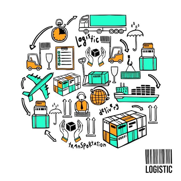 Logistische skizze konzept Premium Vektoren