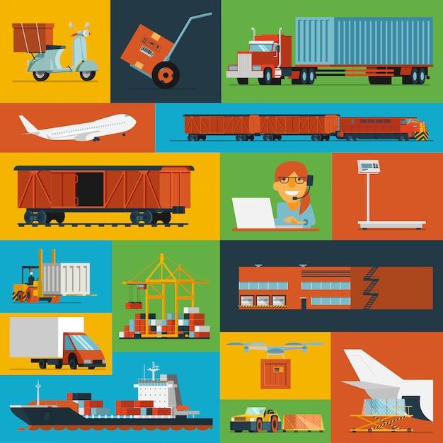 Logistische symbole legen flach ab Kostenlosen Vektoren