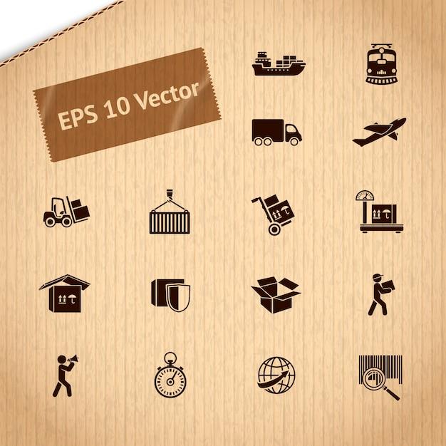 Logistische transportdienstikonen eingestellt Premium Vektoren