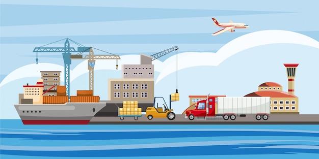 Logistischer horizontaler hintergrund, karikaturart Premium Vektoren
