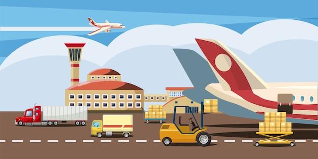 Logistischer horizontaler hintergrund Premium Vektoren