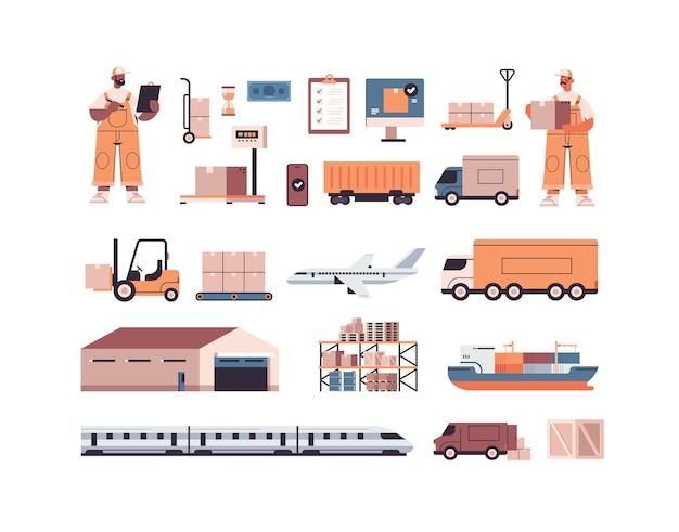 Logistischer transport frachtsymbole satz von verschiedenen transport- und mischrassenlieferanten im einheitlichen expresslieferdienstkonzept isoliert Premium Vektoren