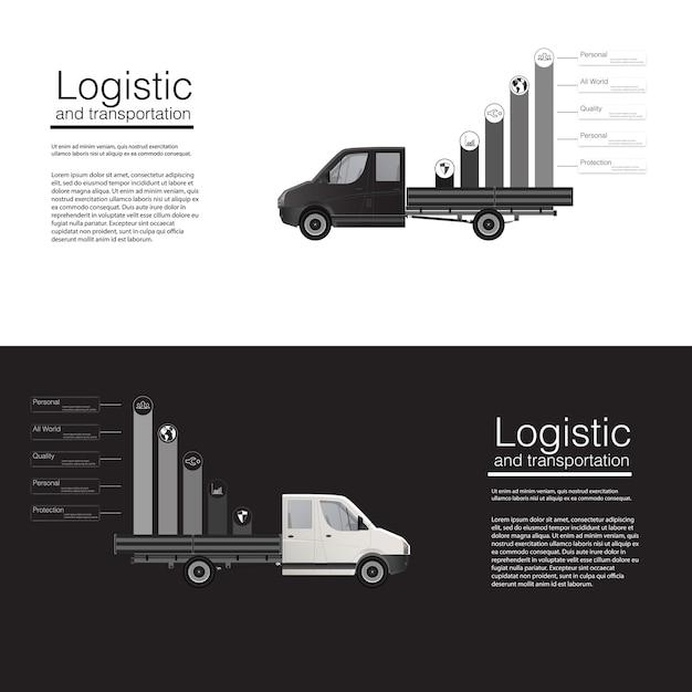 Logistisches konzept banner auto fracht lieferwagen vorlage. abstrakte illustrationsschablone auf grauem hintergrund. . Premium Vektoren