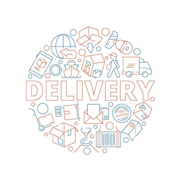 Logistisches konzept. globale lieferung fracht service sendung Premium Vektoren