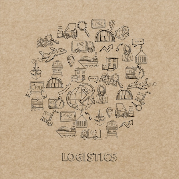 Logistisches konzept mit skizzenlieferung und dekorativen ikonen des versands auf papierhintergrund vector illustration Kostenlosen Vektoren