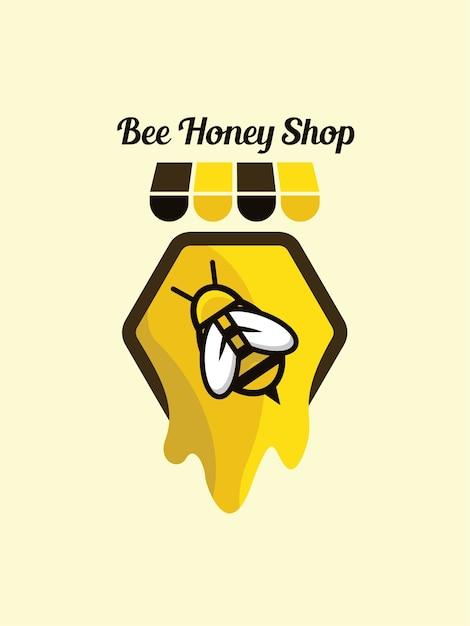 Logo bienenhonig shop vorlage Premium Vektoren