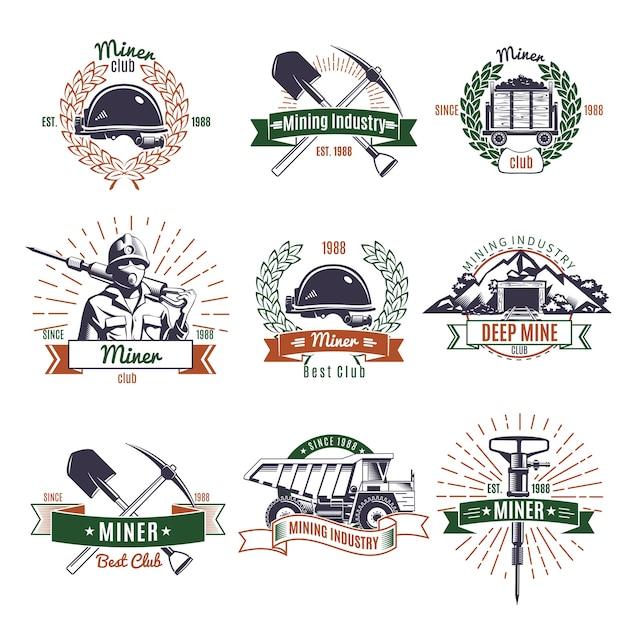 Logo der bergbauindustrie Kostenlosen Vektoren