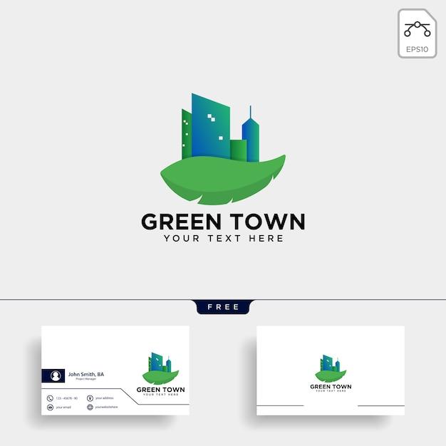 Logo der grünen stadt und visitenkarteschablone Premium Vektoren